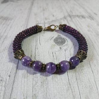 Женский браслет из натурального камня и бисера ЖБ6