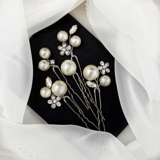 Свадебные украшение для волос, заколки в прическу, шпильки с жемчугом, жемчужные шпильки