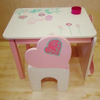 """Дитячий столик і стільчик  """"Серденько"""""""