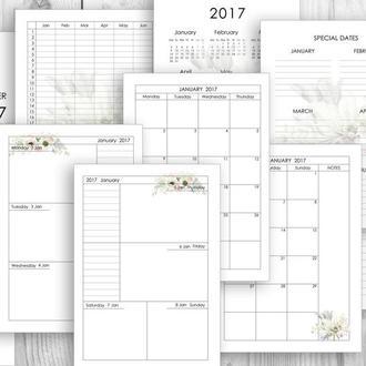 Электронные страницы для планировщика - 2017, набор страниц для ежедневника