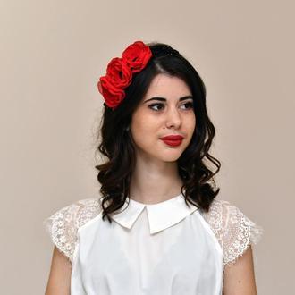 Красный цветочный ободок , обруч с цветами , ободок для волос в украинском стиле