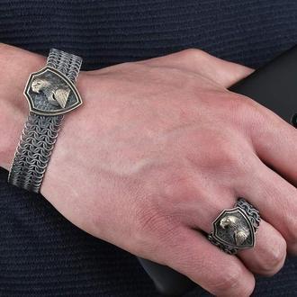 Комплект серебряный мужской плетеный Браслет и кольцо с эмблемой Орел
