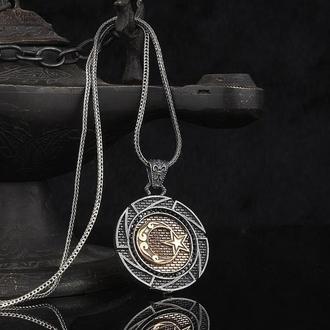 Кулон из серебра мужской на цепочке из серебра ручной работы Мусульманский Полумесяц и звезда