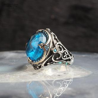 Кольцо перстень мужской на подарок ручной работы из серебра 925 пробы с синим симпатичным камнем