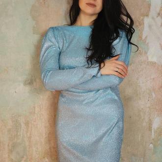 Голубое платье мини из люрекса