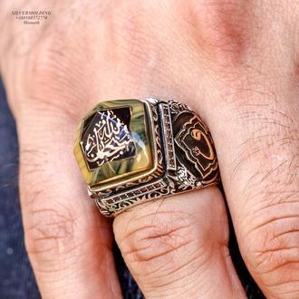 Витончений, детальний перстень з арабським листом з срібла 925 проби ручної роботи
