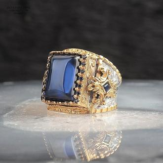 Ексклюзивний срібний чоловічий перстень із синім каменем Позолота 14к 925 проби ручної роботи