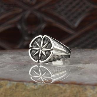 Авторське кільце печатка Роза вітрів з срібла 925 проби ручної роботи