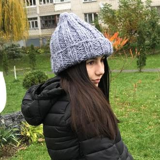 Серая вязаная шапка, шапка, вязаная шапка, модная шапка, молодежная шапка