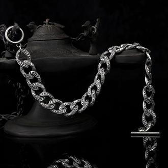 Мужской брутальный браслет из серебра 925 пробы ручной работы с гравировкой и уникальным замком