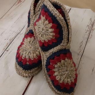 Домашние ботиночки-угги из шерстяной пряжи 37 размер