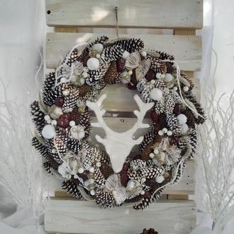 Новогодний венок, Рождественский венок, зимний венок, венок из шишек, венок на новый год
