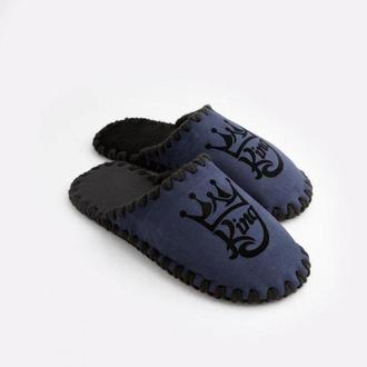 Мужские домашние тапочки King темно-синего цвета, закрытой формы