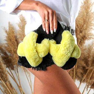 Женские домашние тапочки иксики, лимонного цвета
