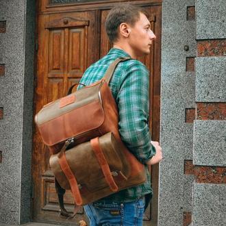 Кожаный рюкзак для города, Рюкзак для ноутбука, Мужской коричневый рюкзак