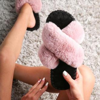 Женские домашние тапочки иксики, розового цвета