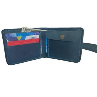 Массивный голубой кожаный кошелёк х9 (10 цветов)