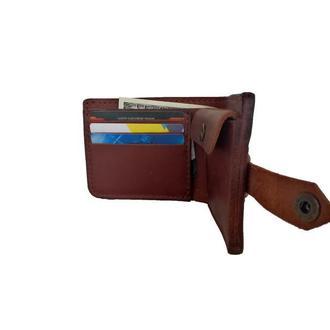Массивный коньячный кожаный кошелёк х9 (10 цветов)