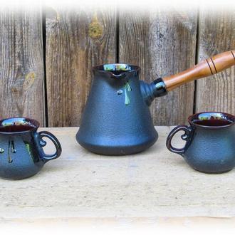 Набір кавовий (турка чорна 350 мл. з двома горнятками)