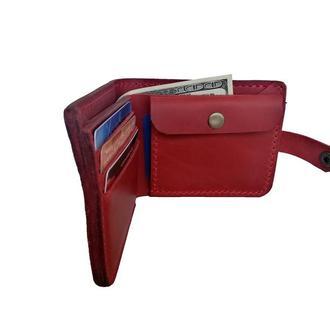 Массивный красный кожаный кошелёк х9 (10 цветов)
