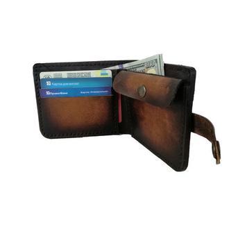 Массивный кожаный кошелёк градиент свето-коричневый рас9 (12 цветов)