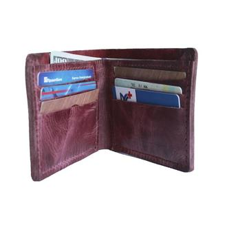Кожаный бордовый бумажник х10 (10 цветов)