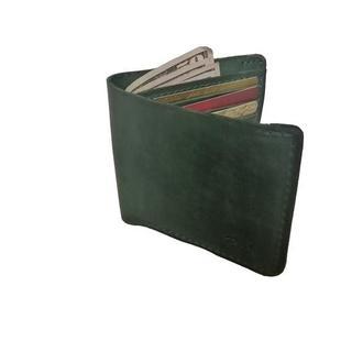 Кожаный зелёный бумажник х10 (10 цветов)