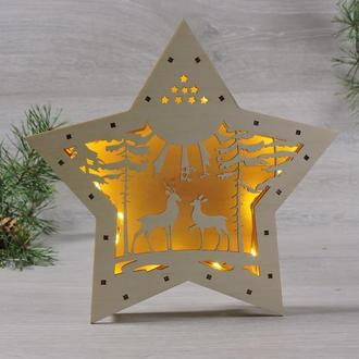 """Нічник дерев'яний led світильник зірка """"олені в лісі"""""""