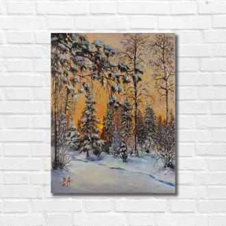 """Картина маслом """"На опушке леса"""" 45х35 см, холст на подрамнике, масло"""