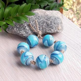 Намистини лемпворк смугасті бузково-блакитні