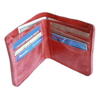 Кожаный красный бумажник х10 (10 цветов)
