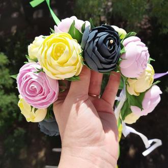 Веночек ободок с цветами из фоамирана