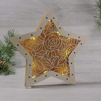 """Ночник из дерева звезда """"Цветочный орнамент""""(2139)"""