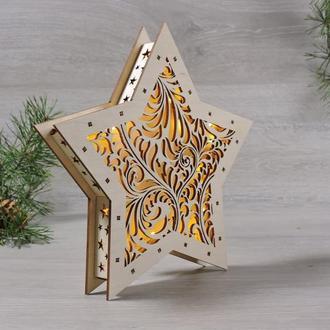 """Led ночник звезда деревянная """"морозный рисунок"""" (2136)"""