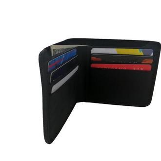 Кожаный чёрный бумажник х10 (10 цветов)