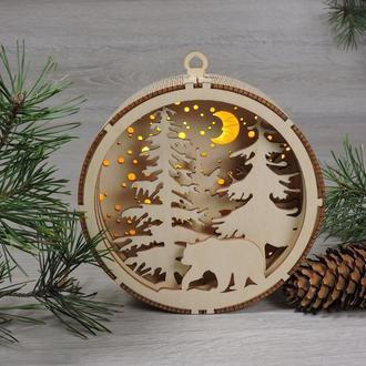 """Деревянные новогодние игрушки с подсветкой """"Рождественский орнамент - сказочный лес"""""""
