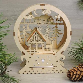 """Красивий дерев'яний нічник """"різдвяний будиночок санта-клауса"""""""