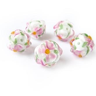 Бусины лемпворк «Цветы белые с розовым» стекло