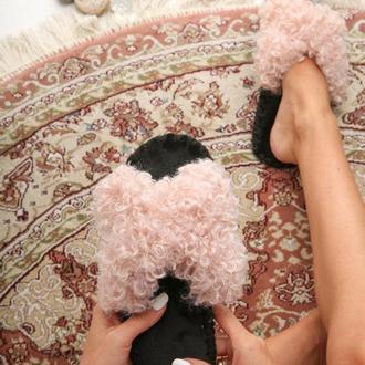 Женские домашние тапочки Барашки Иксики, розового цвета