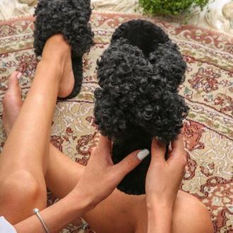 Женские домашние тапочки Барашки Иксики, черного цвета