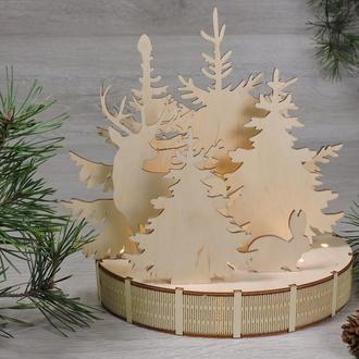 """Світильник нічник новорічний """"лісова зима"""""""