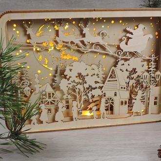 """Новогодние ночники из фанеры """"дети поют рождественские песни"""" (2118)"""