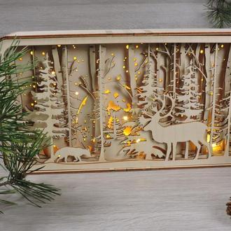 """Новогодний ночник из дерева """"олень и лиса в лесу"""""""
