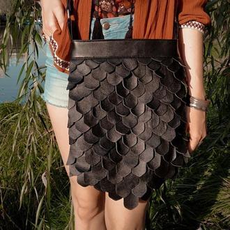 Кожаная сумка с чешуей
