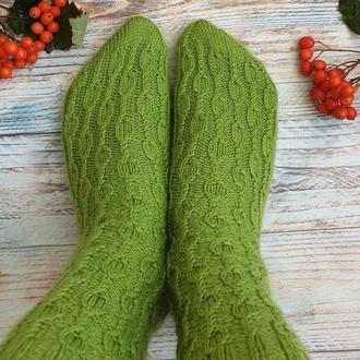 """Вязанные носки  """"Зеленое яблоко"""""""