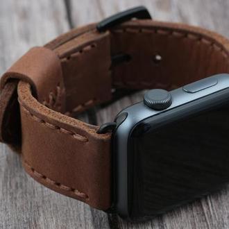Кожаный ремешок для Apple Watch 38/40mm и 42/44mm мм Кожаный ручной работы Коричневый