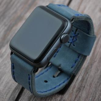 Кожаный ремешок для Apple Watch 38/40mm и 42/44mm мм Кожаный ручной работы Голубой