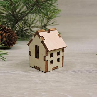 Миниатюрные деревянные домики для новогодней гирлянды (4,5х3х3 см)(2132)