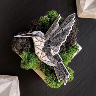 Полигональная брошь птица Колибри. Маленькая серая брошь Колибри ручной работы. Оригинальная Птичка