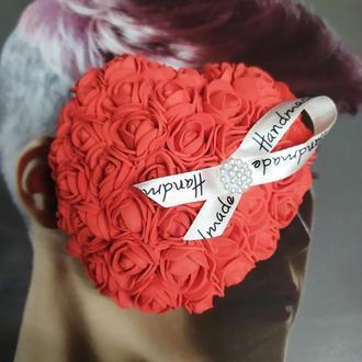 Сердце из роз , сердце 3D на подарок , сердце из фоамирана